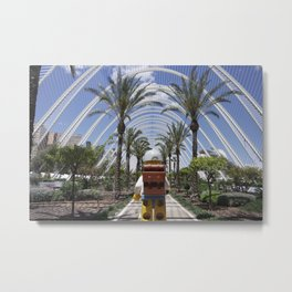 The Little Backpacker in Valencia Gardens Metal Print