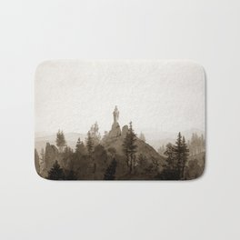 Statue of the Madonna in the Mountains Bath Mat