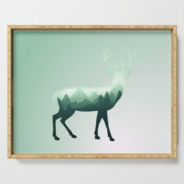 Deer Stag Elk Roe Fawn Moose Double Exposure Surreal Wildlife Animal Serving Tray
