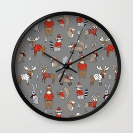 Christmas winter woodland animals foxes deer bunnies moose holiday cute design Wall Clock