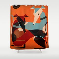 GREYHOUND PAIR Shower Curtain