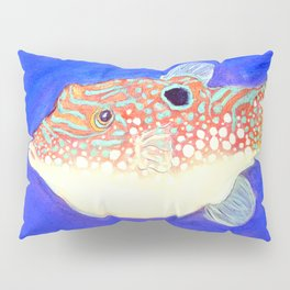 Blue Spotted Orange Toby Puffer Pillow Sham