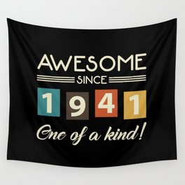 Awesome Since 1941 Retro 80th Birthday Wall Tapestry