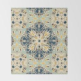 Protea Pattern in Deep Teal, Cream, Sage Green & Yellow Ochre  Throw Blanket