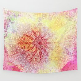 painterly paisley mandala in yellow and pink Wall Tapestry