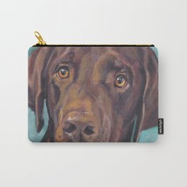 Chocolate lab LABRADOR RETRIEVER dog portrait painting by L.A.Shepard fine art Carry-All Pouch