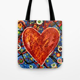 Abstract Painted Heart Tote Bag