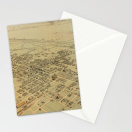 Vintage Pictorial Map of Bakersfield CA (1901) Stationery Cards