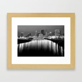 The Night Lights of Columbus Ohio's Skyline Reflections Framed Art Print