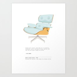 Midcentury Eames Lounge Chair - Mint Art Print with Quote Art Print