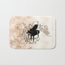 Music, piano with key notes and clef Bath Mat