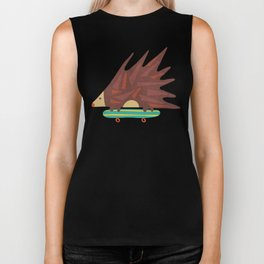 Hedgehog in hair raising speed Biker Tank