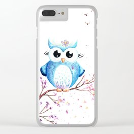 Cute Blue Owl Illustration Clear iPhone Case