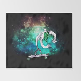 Longboard into Space Throw Blanket