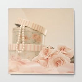 Romantic pink roses and pearls (Retro and Vintage Still Life Photography) Metal Print