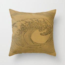 Vintage Golden Wave Throw Pillow