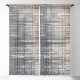 Weathered wood wall Sheer Curtain