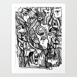 What is in my Head Black and White Hand Drawn  Graffiti Art Art Print