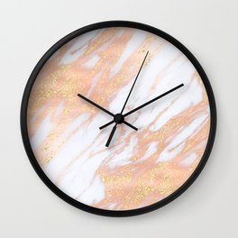 Marble - Rose Gold with Yellow Gold Glitter Shimmery Marble Wall Clock