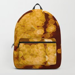 Bokeh Blurred Orange Yellow gold lights Sparkle Glitter Dots circles Pattern Blurred Backpack
