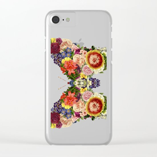 Spring Butterfly Floral Clear iPhone Case