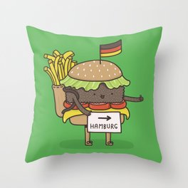Hitchhiking for home Throw Pillow