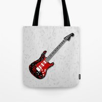 music notes Tote Bags featuring Music Notes Electric Guitar by GBC Design