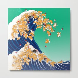 Christmas Shiba Inu The Great Wave Metal Print