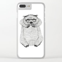 Wombat with glasses Clear iPhone Case