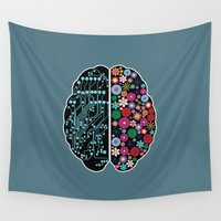 psychology Wall Tapestries featuring Brain by BlueLela