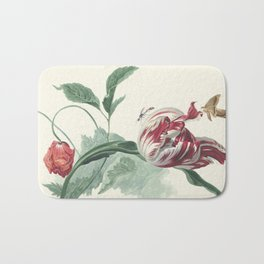 Tulip and a Poppy Vintage Botanical Art Bath Mat