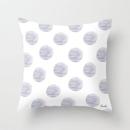 Blue Watercolor Polka Dots Throw Pillow