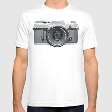 Vintage Camera Phone Mens Fitted Tee White MEDIUM