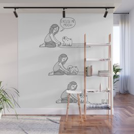 Mochi the pug on yoga mat Wall Mural