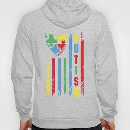 Autism Awareness Heart American Flag Colors Hoody