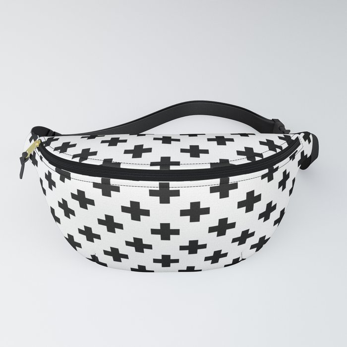 Black Crosses on White Fanny Pack