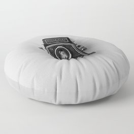 Old Camera (Black and White) Floor Pillow