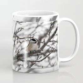Winter Windblown Black-Capped Chickadee Coffee Mug