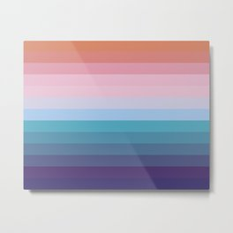 Cotton Candy Ice Cream- Blue and Pink Colorful Abstract Stripes Metal Print