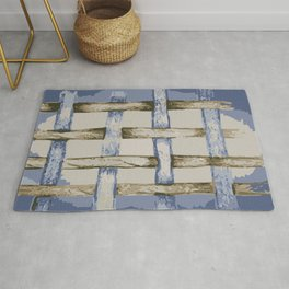 Blues and Browns Trellis style, unique drawing adapted by illustrator Tracy Catchpole Rug