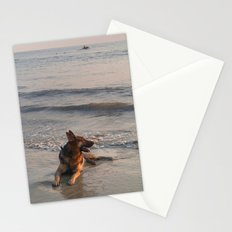 German Shepherd in the Surf Palolem Stationery Cards
