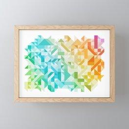 Colorful Geometric Pattern Saturated Rainbow Pattern Design (Red Pink Orange Yellow Green Blue) Framed Mini Art Print
