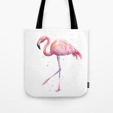 Flamingo Watercolor Pink Bird Tote Bag