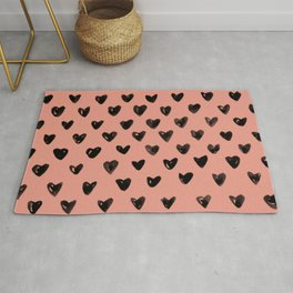 Coral Heart Pattern Rug