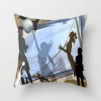 volleyball Throw Pillows featuring Anyone For Volleyball? by Robin Curtiss