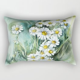 Airy Chamomile Flowers in Watercolor - Impressionistic Art Rectangular Pillow