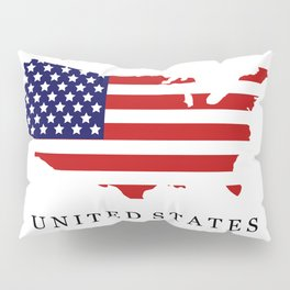 United States map with flag Pillow Sham