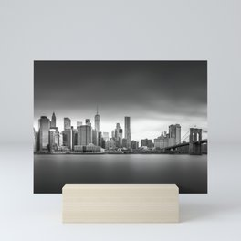 Monochrome panorama of Manhattan Mini Art Print