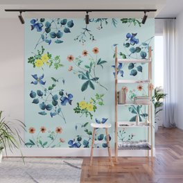 Spring fling III - mint Wall Mural