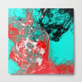 Marbled Collision - Abstract, red, blue, black and white mixed paint artwork Metal Print